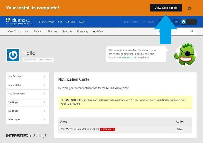 Bluehost view credentials page